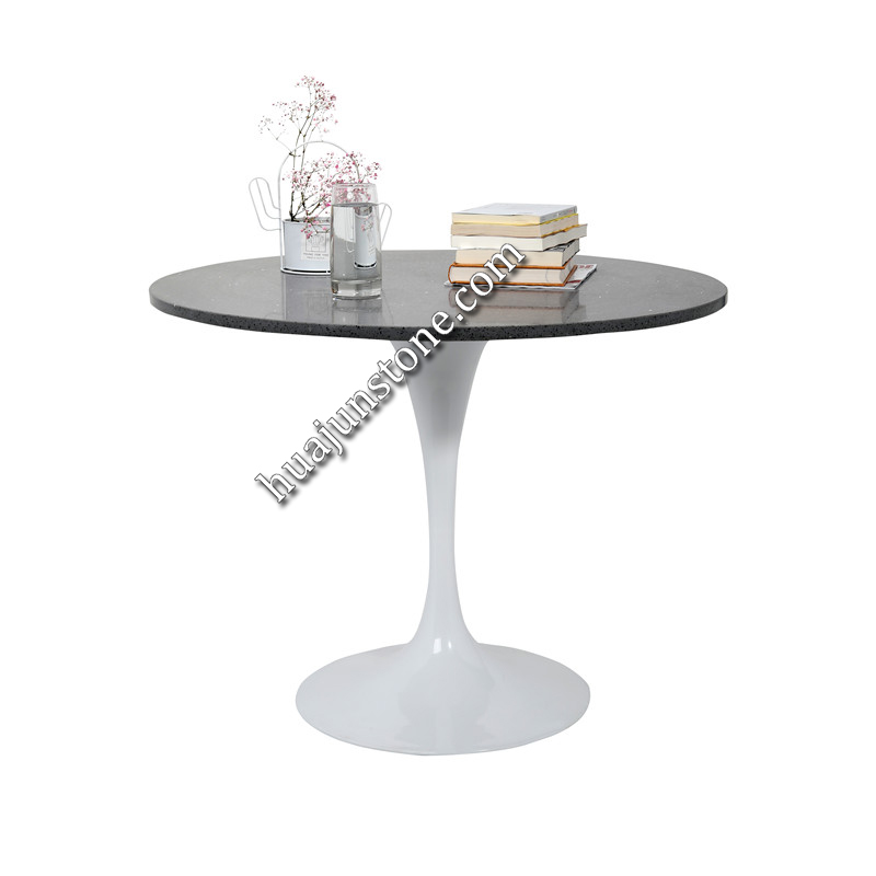 Crystal Black Quartz Round Table Tops